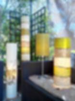 Luminaires de Florence Portefaix crées pour la bambouseraie à Anduze et exposés ici à Nîmes lors de la journée ballade en garrigues.Luminaires bambous .