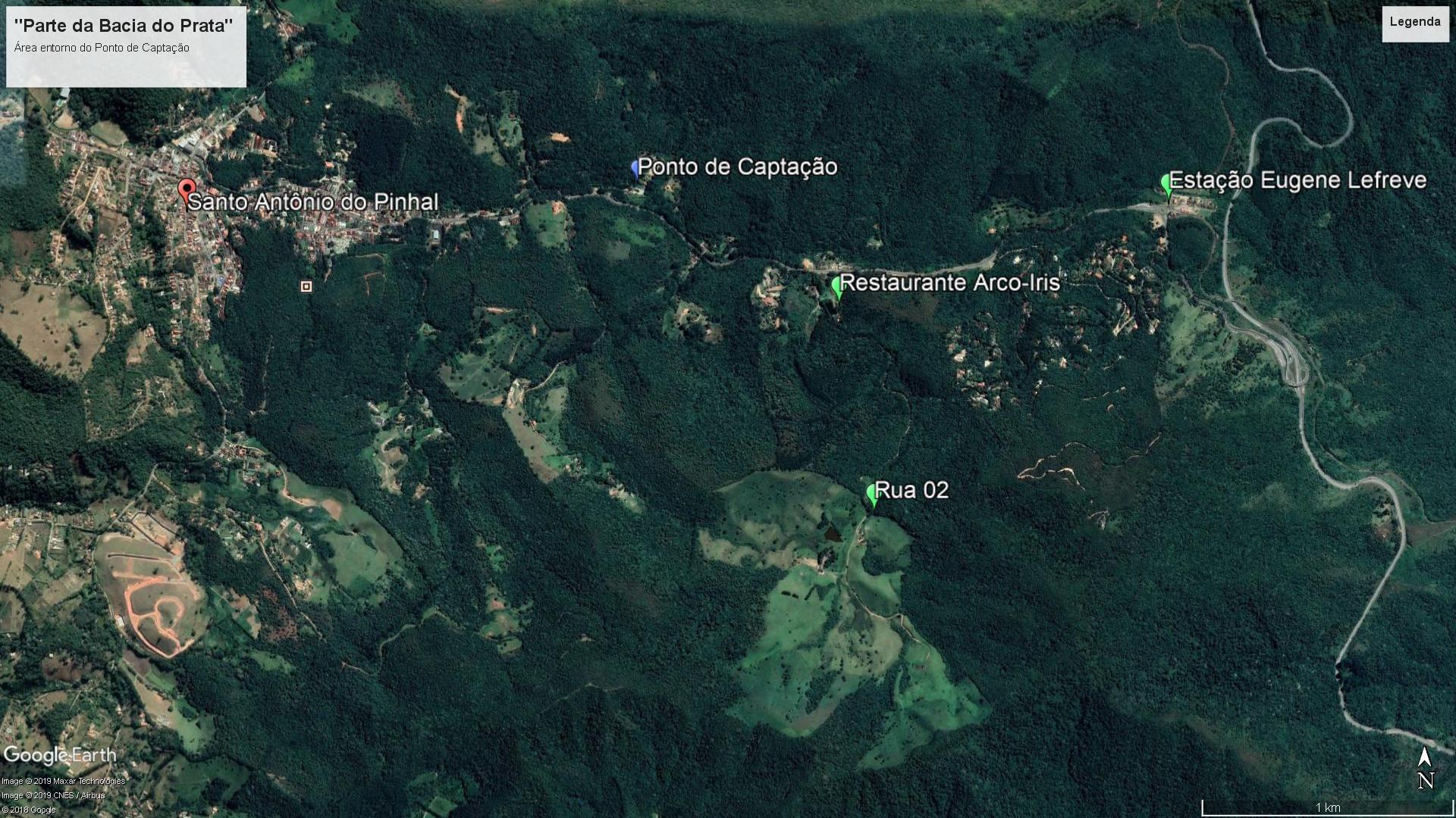 Imagem de satélite da Bacia do Prata em Santo Antônio do Pinhal