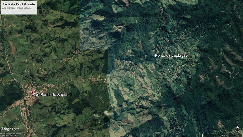 Imagem de satélite da Bacia do Paiol Grande em São Bento do Sapucaí