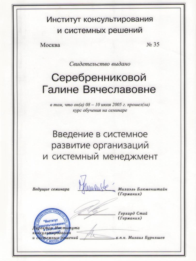 """Сертификат """" Введение в системное развитие организации и системный менеджмент"""""""