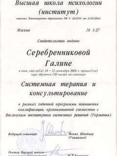 """Сертификат """"Системная терапия и консультирование"""""""