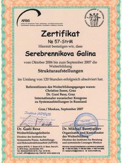 """Сертификат """"Структурные расстановки"""""""