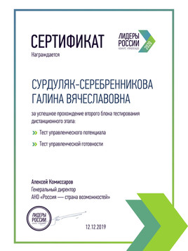 Сертификат Лидеры России 2 блок