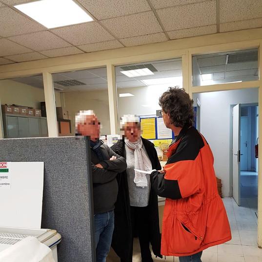 """Le PIMMS en visite du centre """"Les Restaurants du Coeur"""" à Mouy le 08/11/18"""
