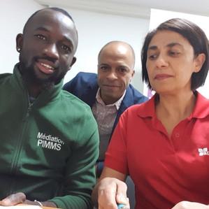 De gauche à droite: Cheik, un médiateur du PIMMS STAC nous venant de l'EPIDE, le directeur du PIMMS M. LOUIS-REGIS et une représentante de l'EPIDE