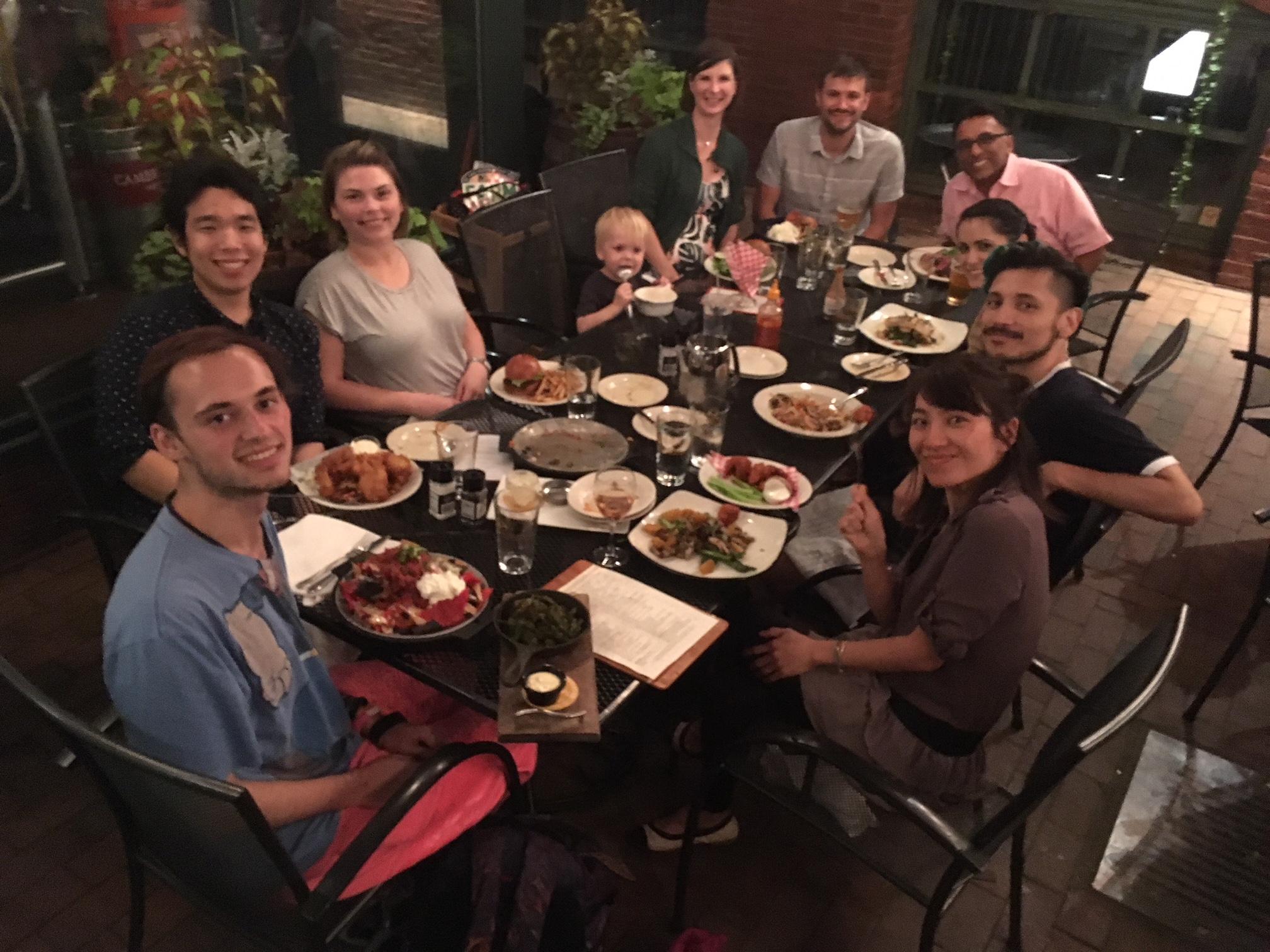 Kate's farewell dinner.