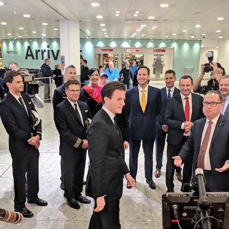 Greeting the CEO of Qantas and the Australian Trade Minister after the arrival of the first non-stop Australia-UK flight in 2018
