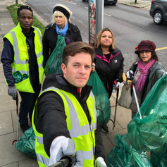 Litter picking in Ealing with the Conservative team.