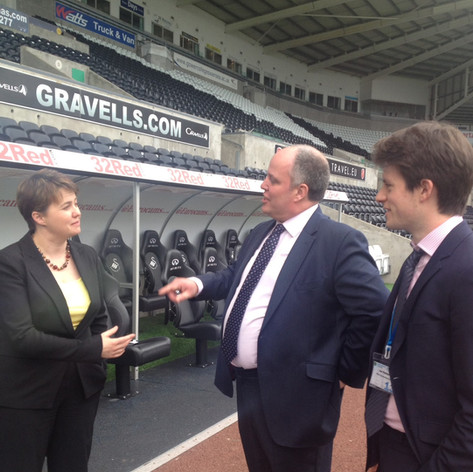 With Ruth Davidson MSP and Andrew RT Davies AM at the Liberty Stadium in Swansea