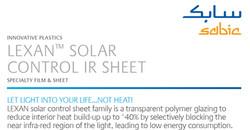 Lexan Solar Control IR Sheet Flyers that Helps Blocks 40% of Infra Red