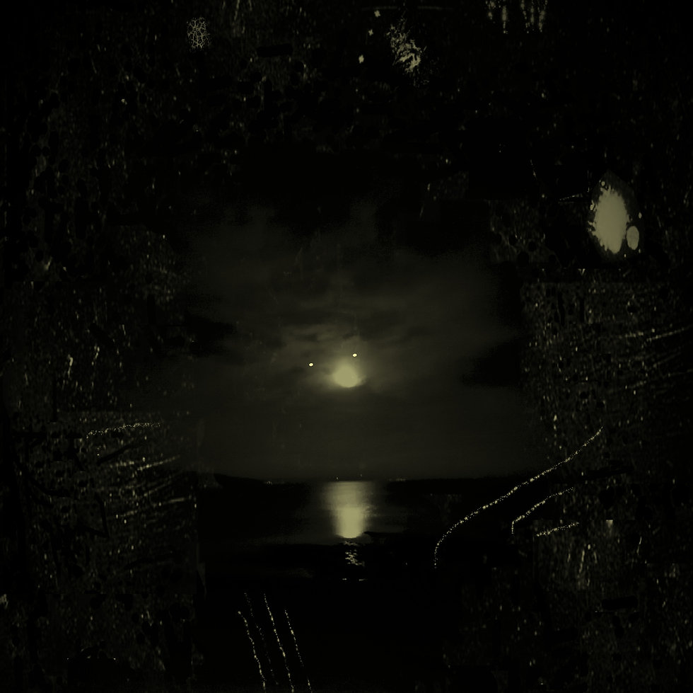 B&W full moon over water with distortion