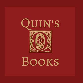 Logo for Quin's Books - Gold Q on dark red background