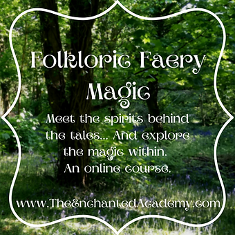 Text - Folkloric Faery Magic - on deep green forest background image