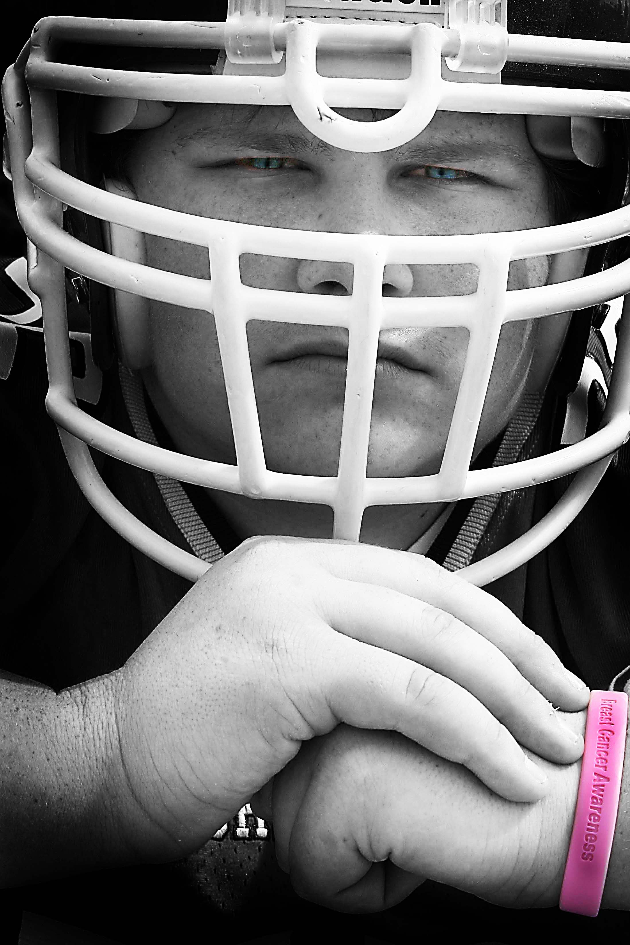 Nick helmet pink bracelet bw.jpg