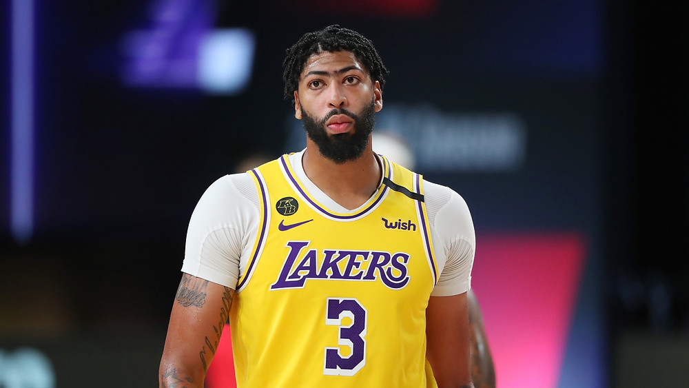 Los Angeles Lakers power forward Anthony Davis looks forward in the NBA Orlando bubble.