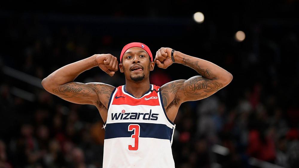 Washington Wizards shooting guard Bradley Beal reacts during an NBA basketball game.