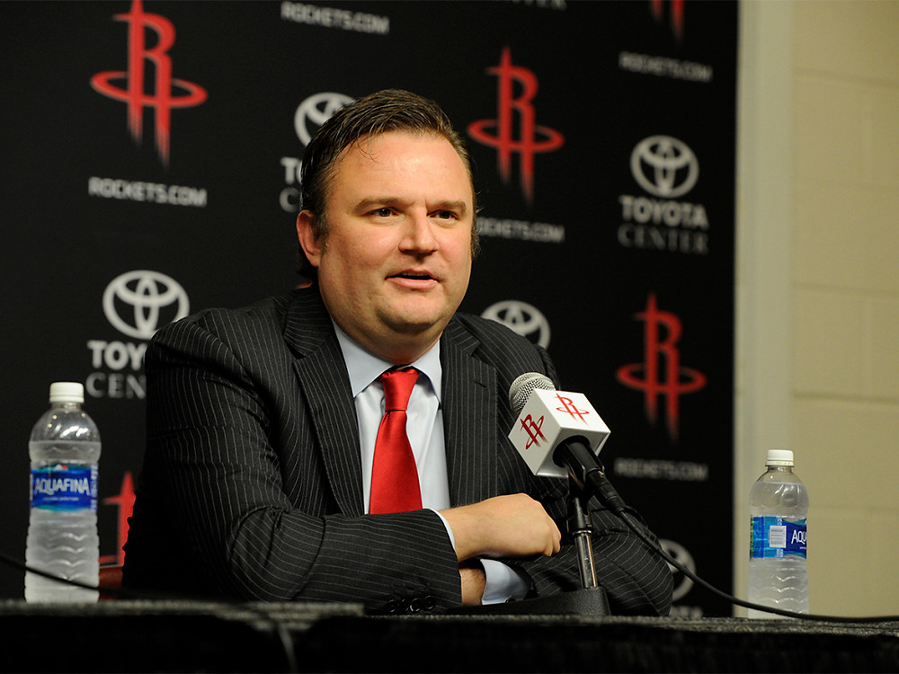 Former Houston Rockets general manager Daryl Morey answers questions during a press conference.