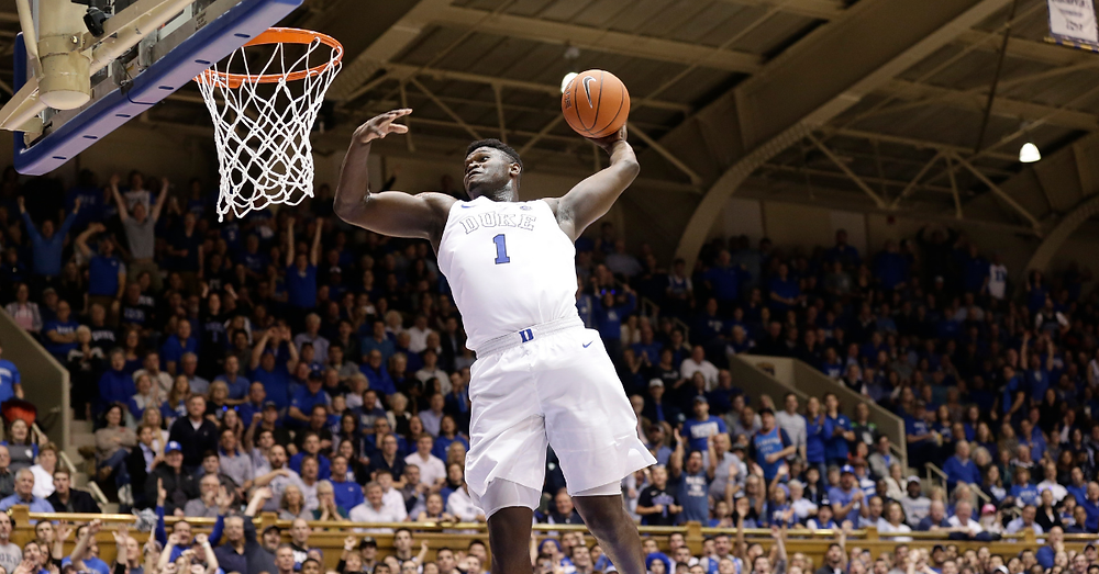 Zion Williamson of Duke University dunks the basketball in an NCAA game in 2018.