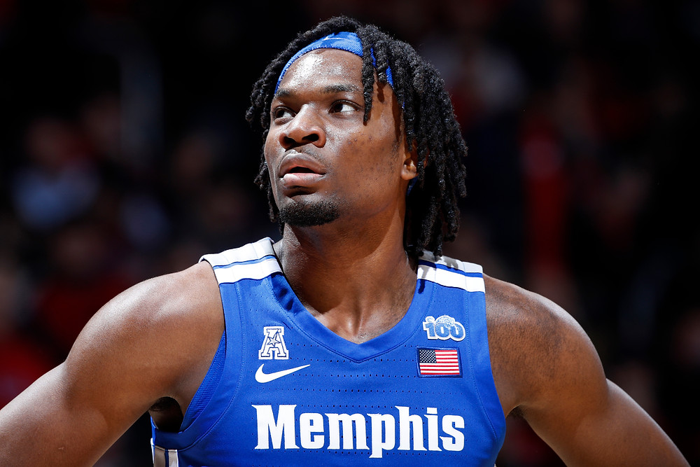 Memphis forward Precious Achuiwa looks toward the scoreboard in an NCAA basketball game against the Cincinnati Bearcats on February 13, 2020.