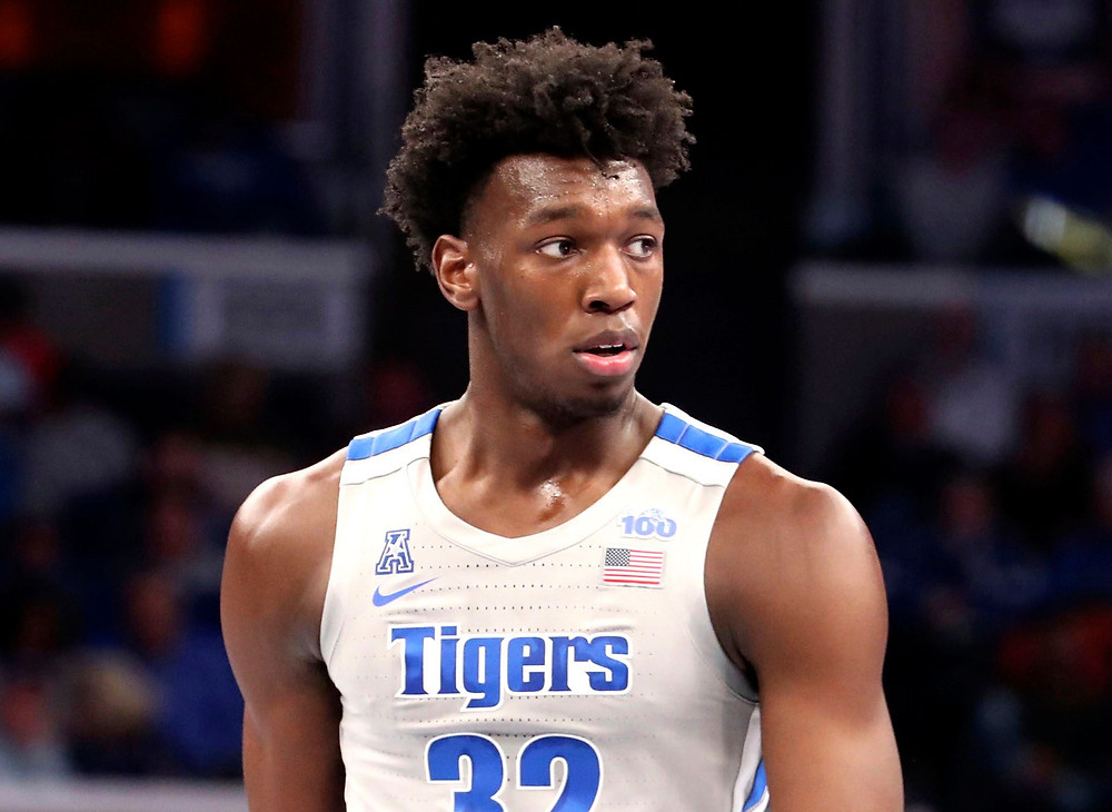 James Wiseman of the Golden State Warriors looks towards his bench at Memphis University during an NCAA basketball game.