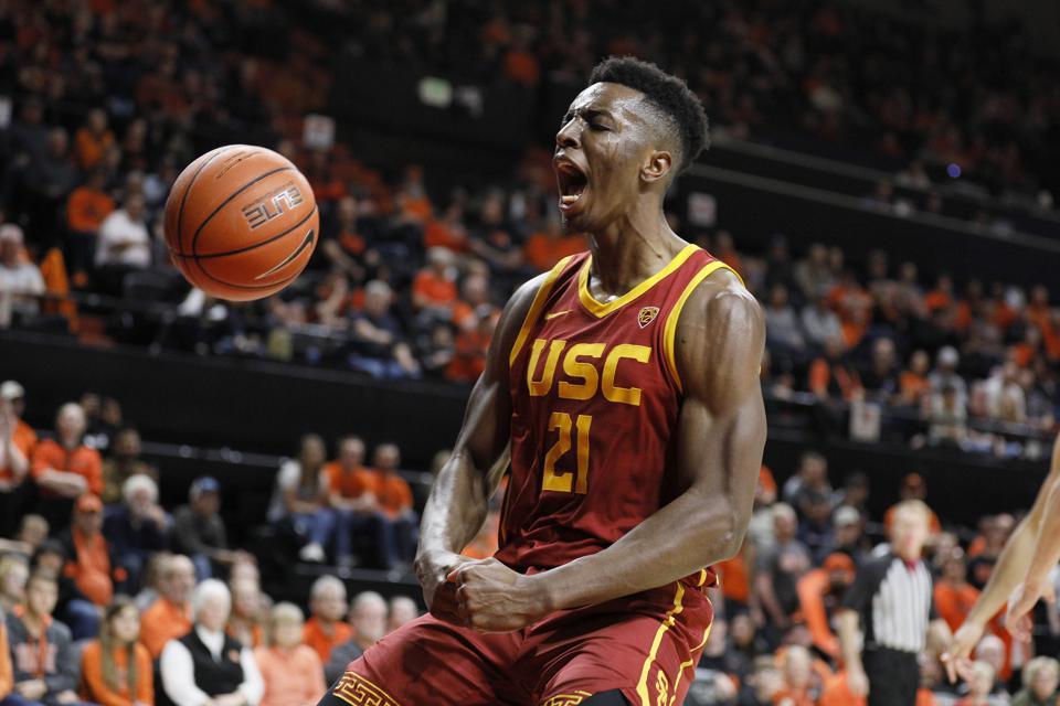 USC's Onyeka Okongwu celebrates following a dunk.