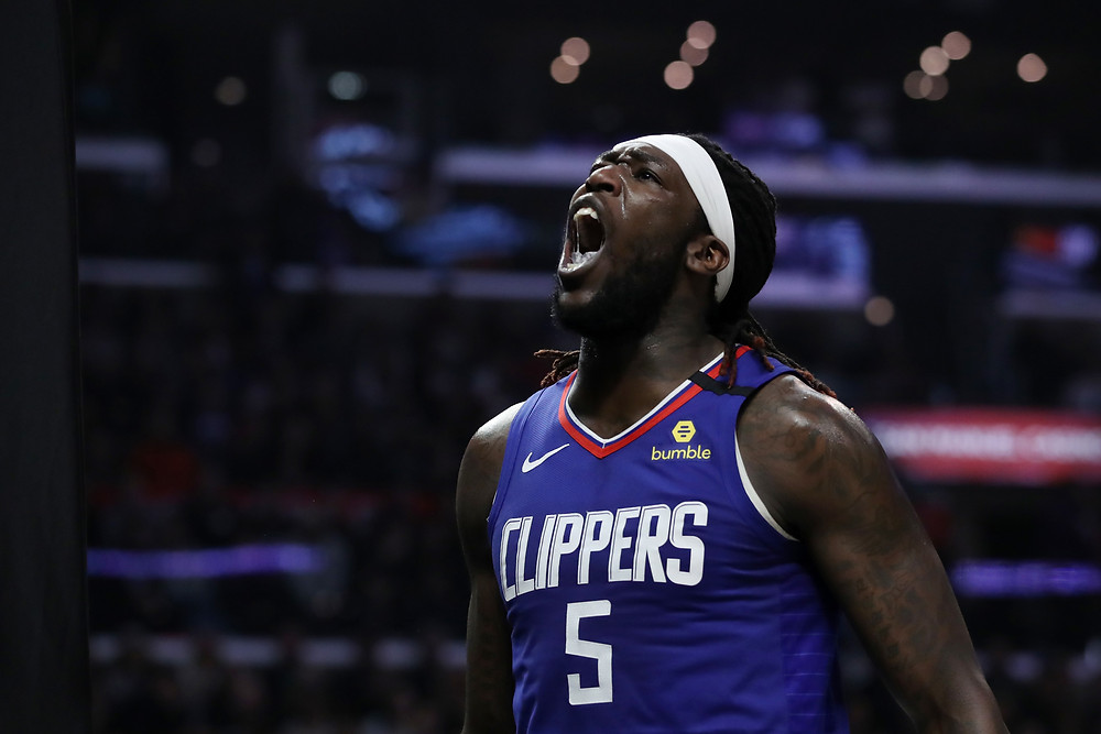Los Angeles Clippers center Montrezl Harrell celebrates after a made basket in an NBA basketball game.