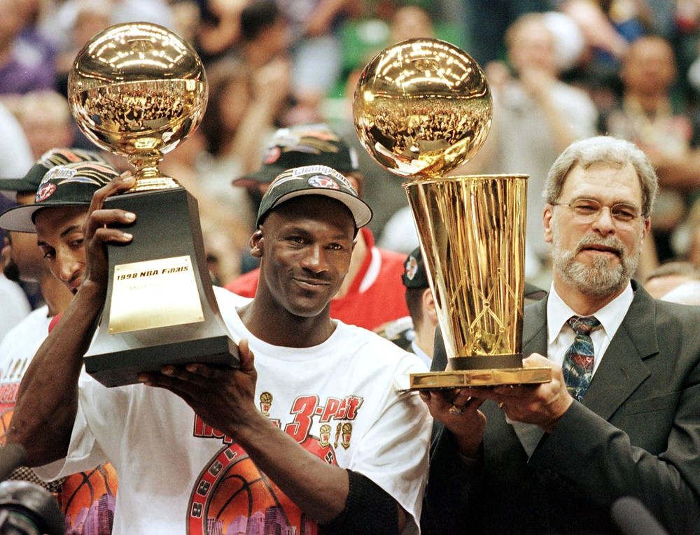 Michael Jordan of the Chicago Bulls and head coach Phil Jackson won six championships together.