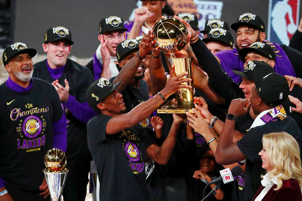 The Los Angeles Lakers celebrate their NBA Finals win on October 11, 2020.