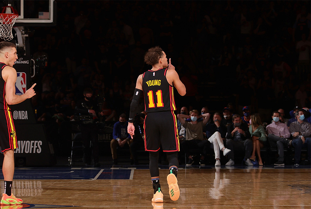 Atlanta Hawks point guard Trae Young silences the crowd in Madison Square Garden after hitting a game-winning floater in Game 1 against the New York Knicks.
