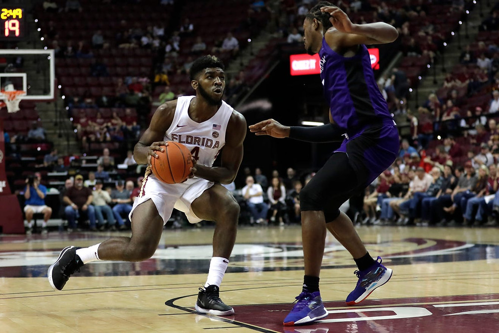 Florida State small forward Patrick Williams looks for a shot against the North Alabama Lions in an NCAA basketball game.