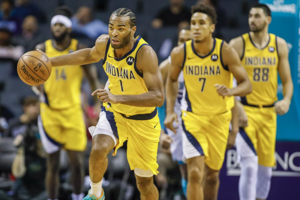 TJ Warren of the Indiana Pacers leads his team on a fastbreak opportunity, followed by JaKarr Sampson, Malcolm Brogdon, and Goga Bitadze.