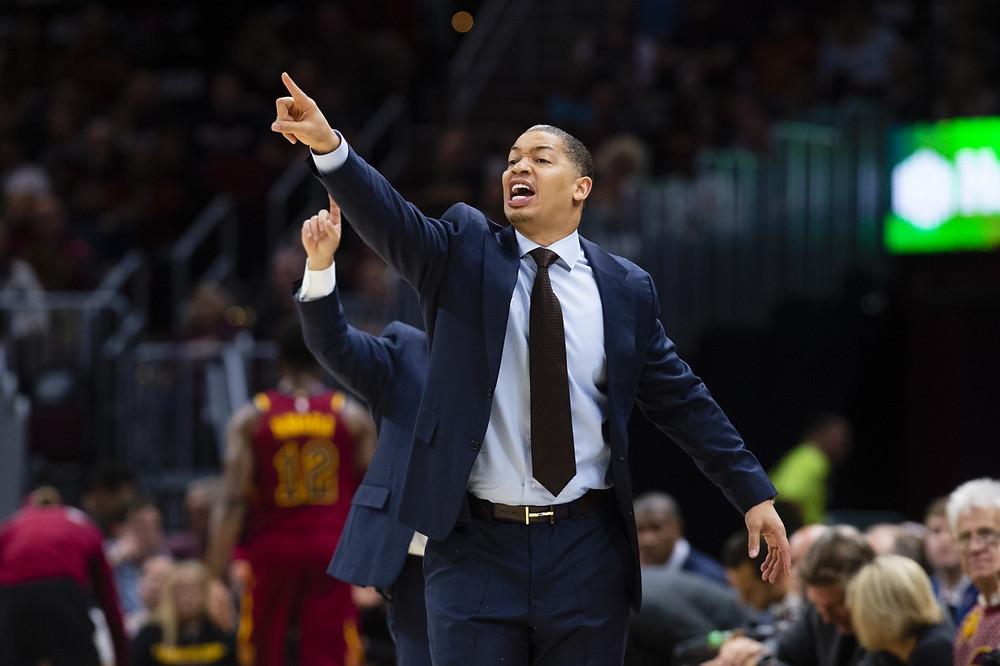 Cleveland Cavaliers head coach Tyronn Lue calls out adjustments in an NBA basketball game.