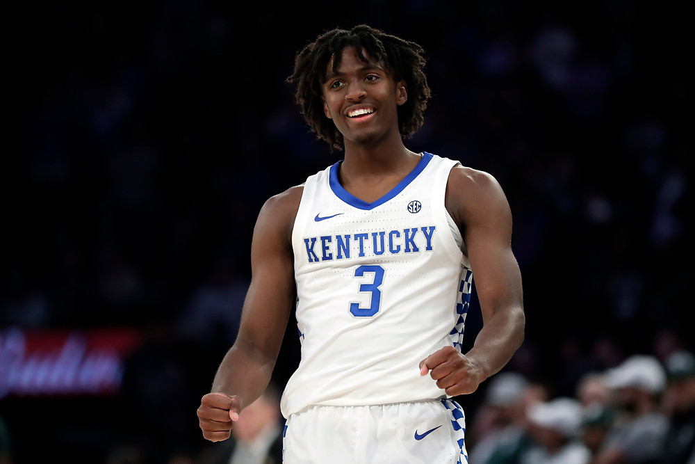 Tyrese Maxey of the Kentucky Wildcats celebrates following a play.
