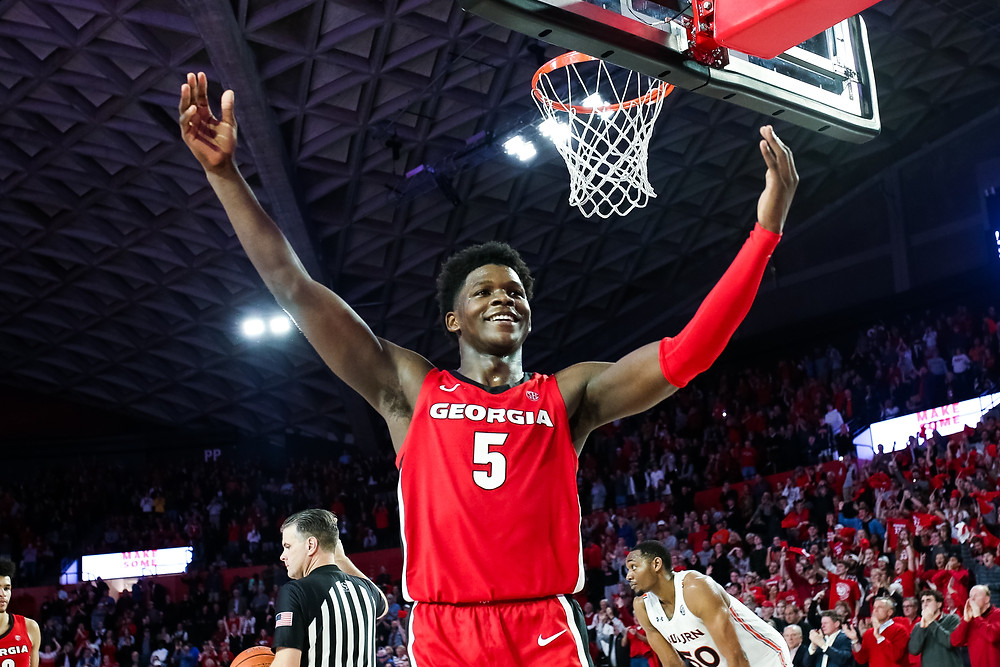 Georgia Bulldogs shooting guard Anthony Edwards encourages the crowd during an NCAA basketball game.