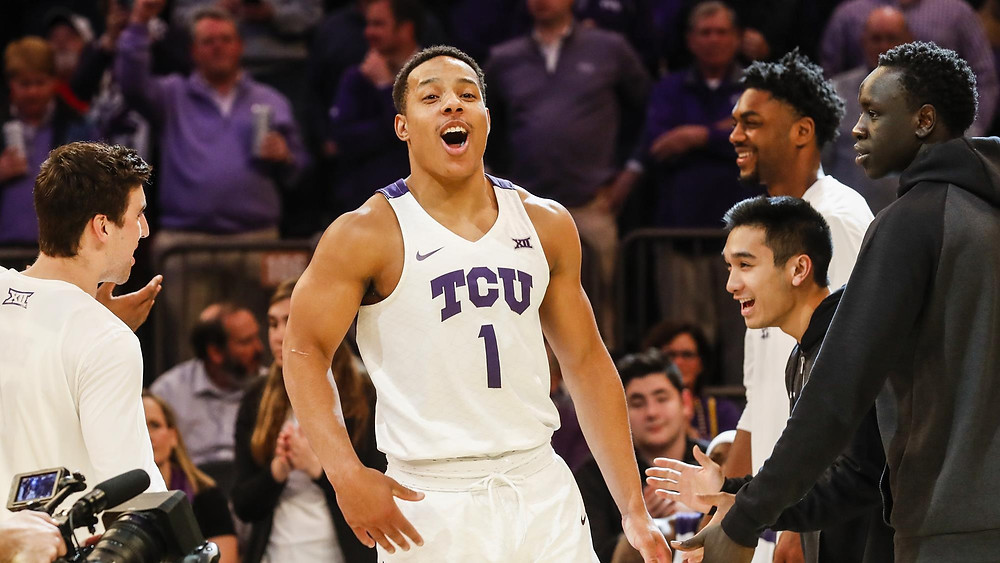 Kansas State Wildcats shooting guard Desmond Bane hypes himself up during player introductions before an NCAA basketball game.