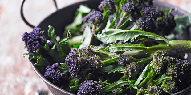 Purple sprouting broccoli in a colander. Photo by bbcgoodfood.com