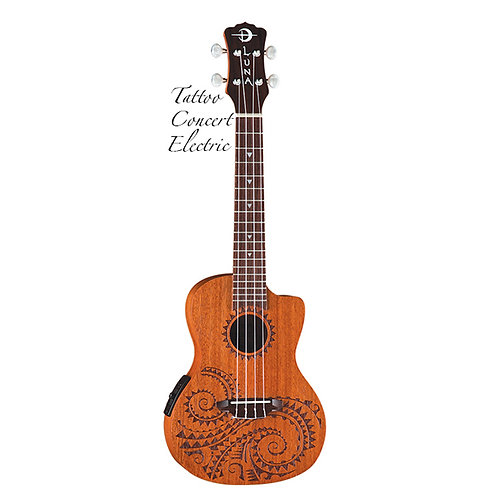 Luna Tatoo Concert Acoustic Electric with Gig Bag