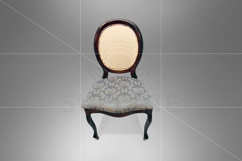 Cadeira Medalhão Tabaco Assento Jacquard Cinza
