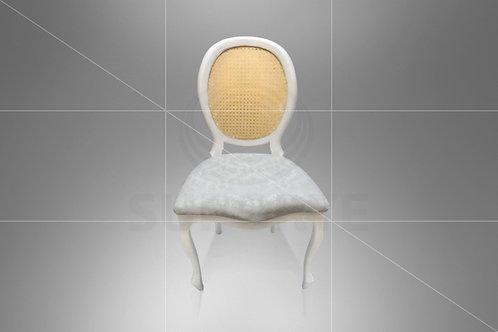 Cadeira Medalhão Branca Assento Jacquard Branco