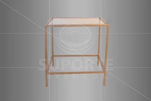 Mesa Canto Dourada Met. 0,60 x 0,60 x 0,60 (Tampo: Vidro, Espelho ou Madeira)
