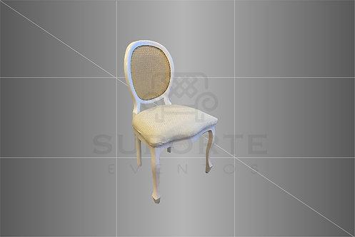 Cadeira Medalhão Branca Assento Nude Póa