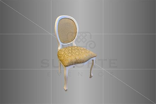 Cadeira Medalhão Branca Assento Dourado Jacquard