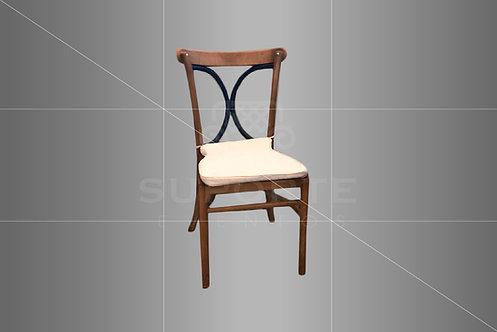 Cadeira Florença em Madeira com Detalhe Azul