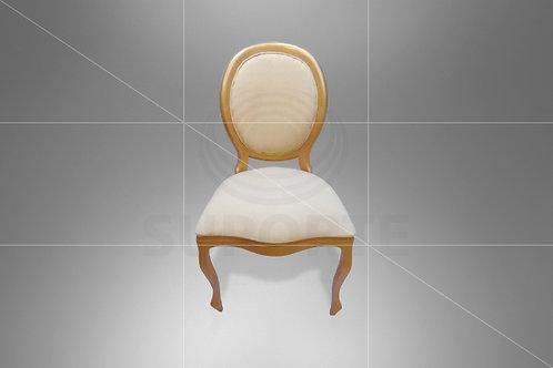Cadeira Medalhão Dourada Lisa Assento e Encosto Jacquard Liso