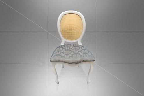 Cadeira Medalhão Branca Assento Jacquard Cinza Escuro