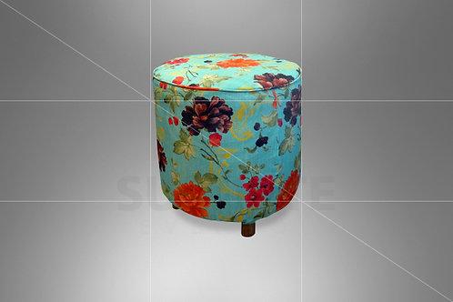 Puff Boho Estampado Azul Tiffany 0,50 de Diâmetro com Capa