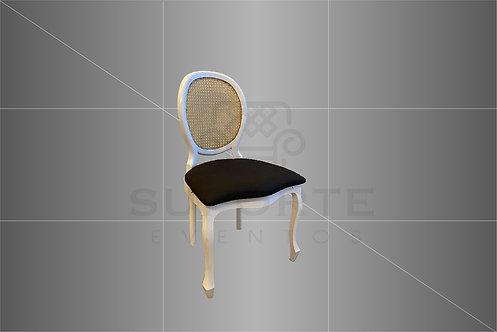 Cadeira Medalhão Branca Assento Preto Liso