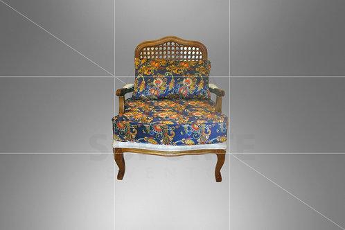 Poltrona Vime Charllot Boho Azul Estampada 0,78 x 0,70 (Não acompanha almofada)