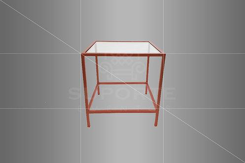Mesa Canto Cobre Met. 0,60 x 0,60 x 0,60 (Tampo: Vidro, Espelho ou Madeira)
