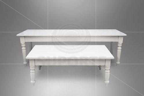 Conjunto de Mesas Brancas 2,50 x 1,0 x 0,78 e 1,50 x 0,90 x 0,55